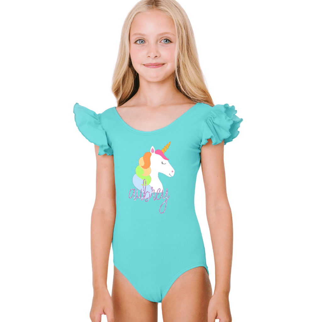 Unicorn Dance Leotard for Girls and Toddlers with Personalized Name