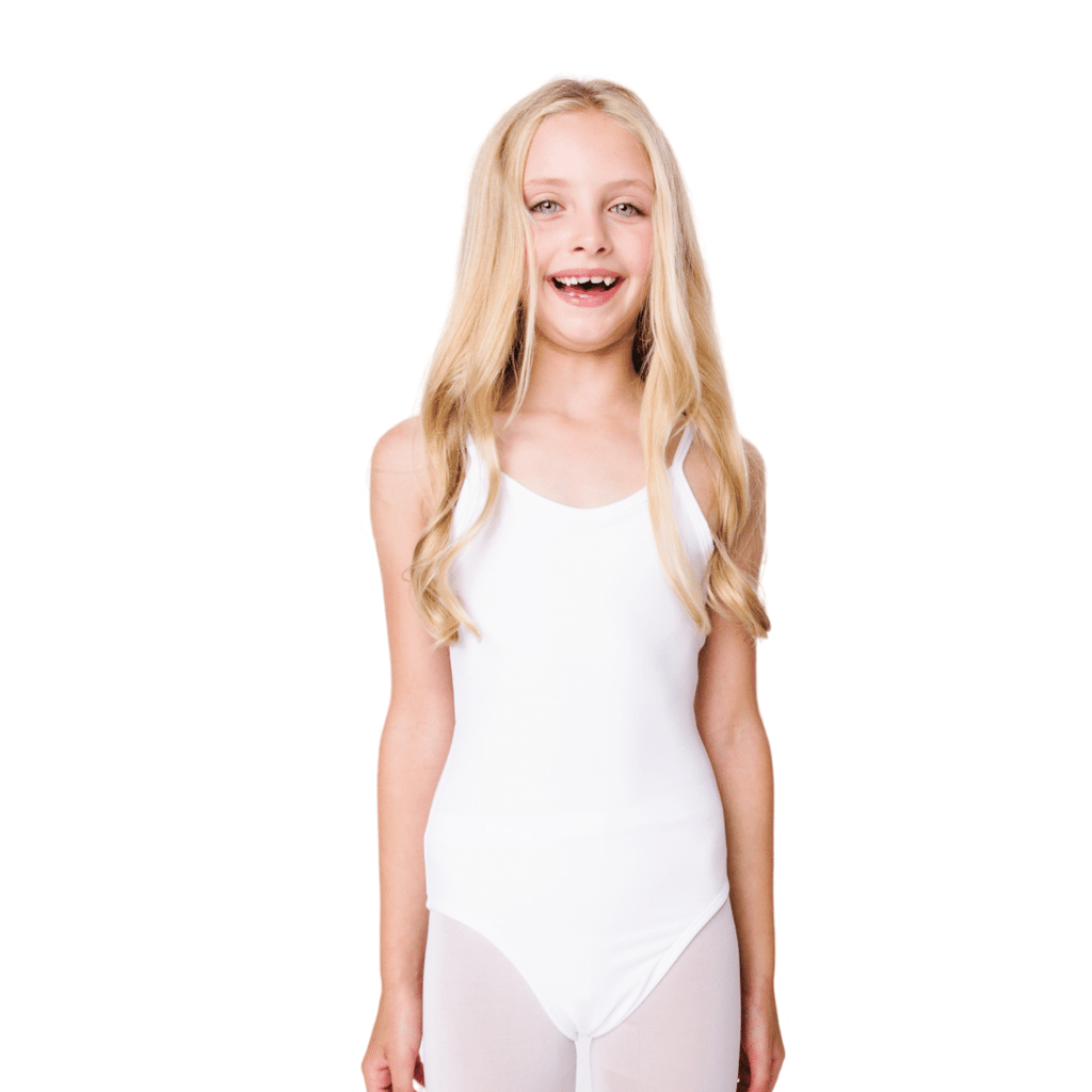 White Camisole Leotard for Ballet and Gymnastics