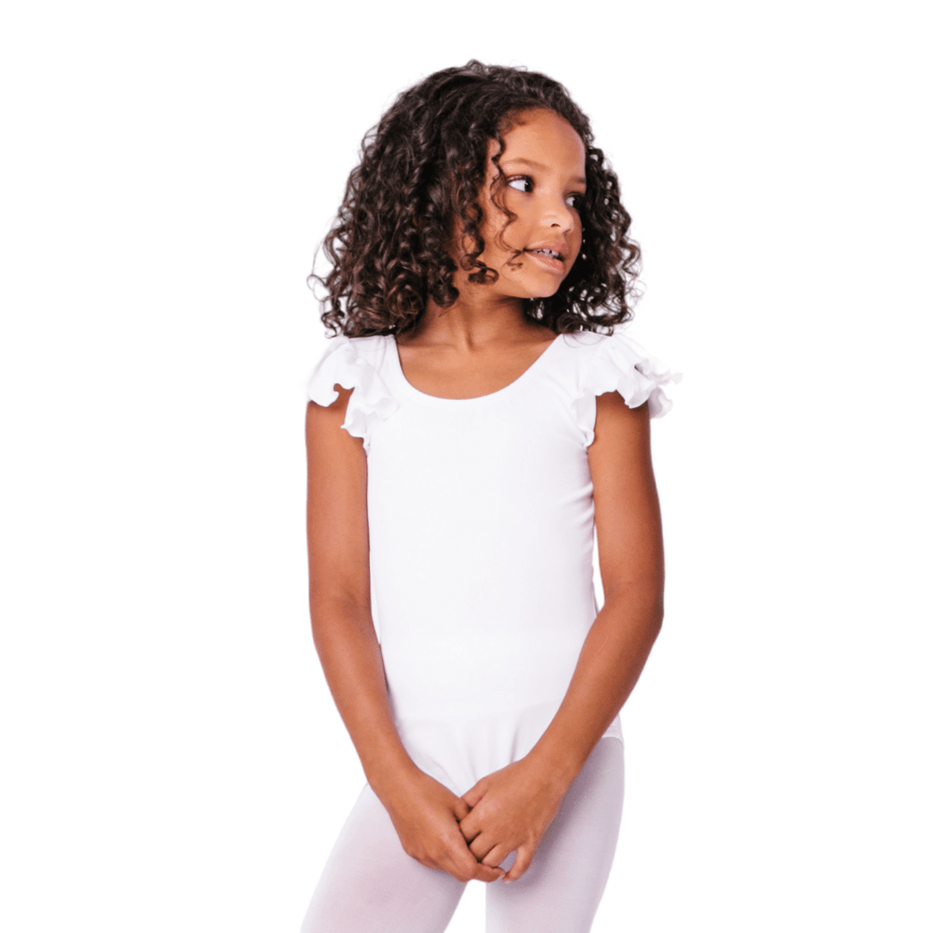 White Dance Bodysuit and Leotard for Girls with Modesty Lining