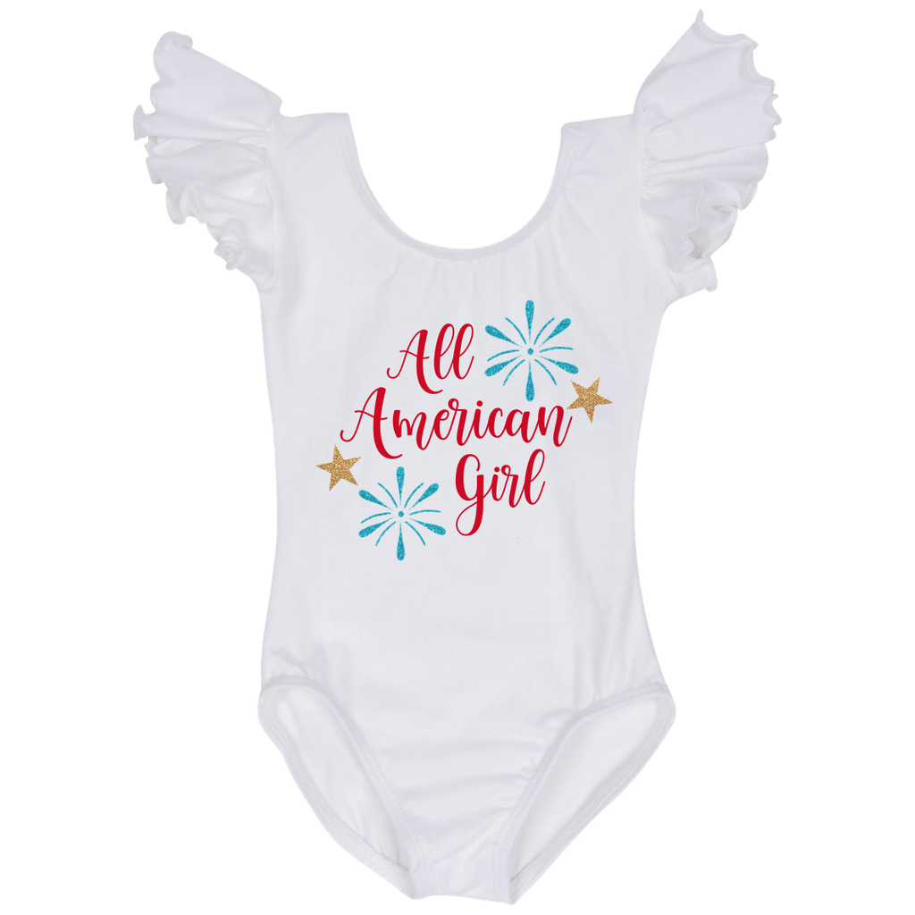 White Leotard Fourth of JulyOutfit for Girls - All American Girl