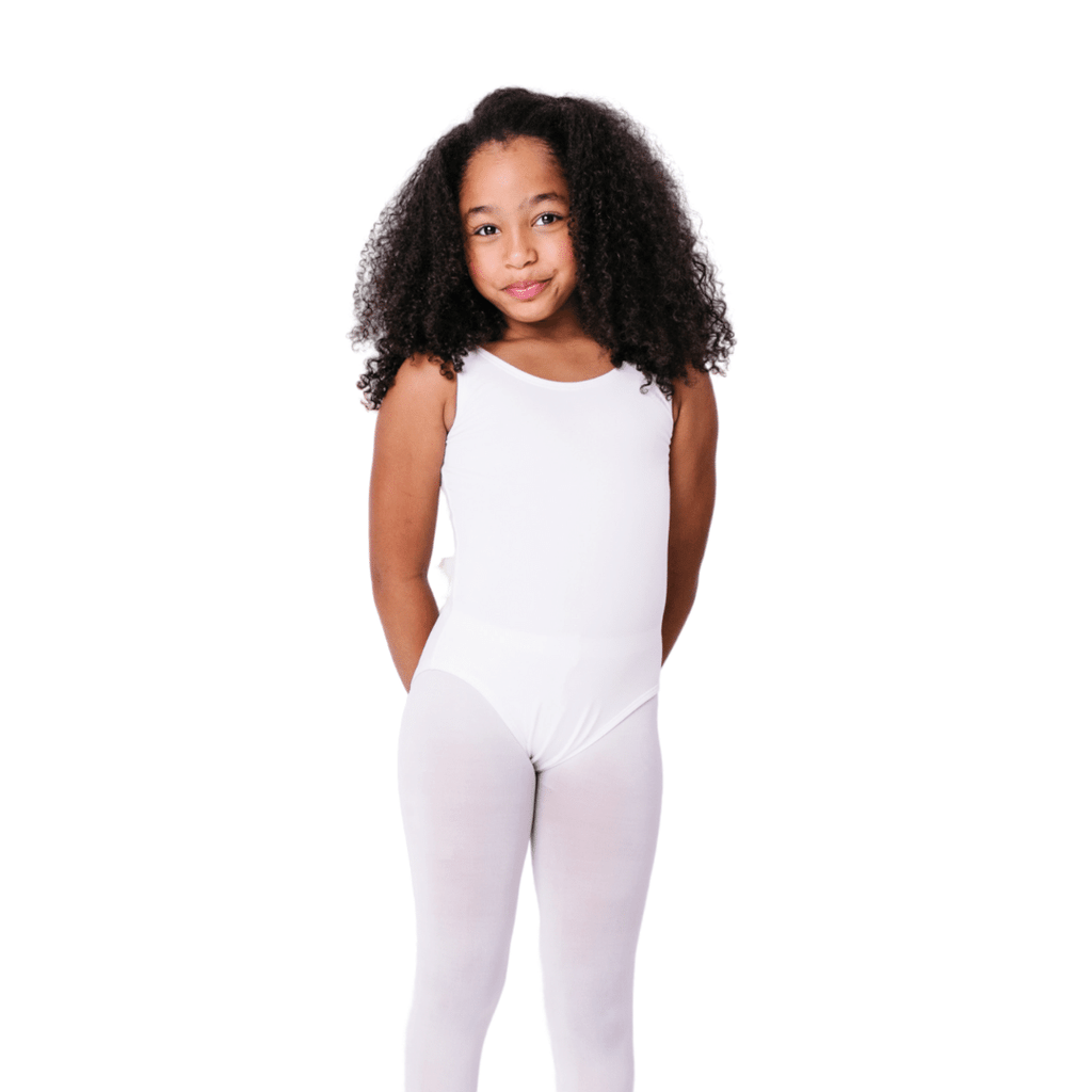 White Sleeveless Leotard with Modesty Lining for Toddlers and Girls