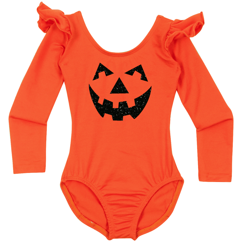Jack O'Lantern Baby, Toddler and Girls Long Sleeve Leotard Costume