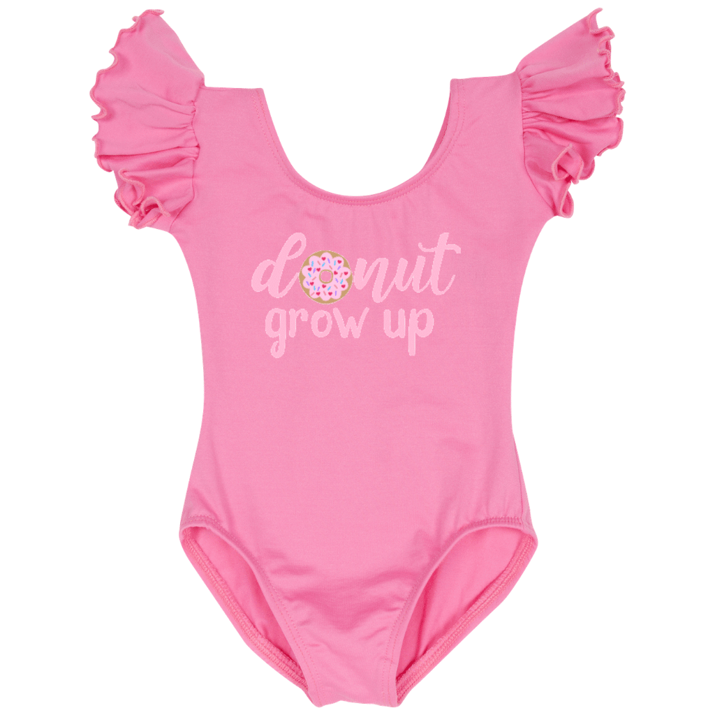 Donut Grow Up Birthday Girls Top Leotard - Pink