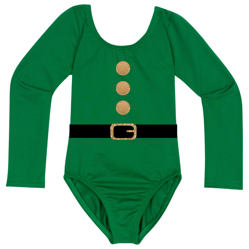 Christmas Elf Long Sleeve Baby, Toddler & Girls Leotard Top