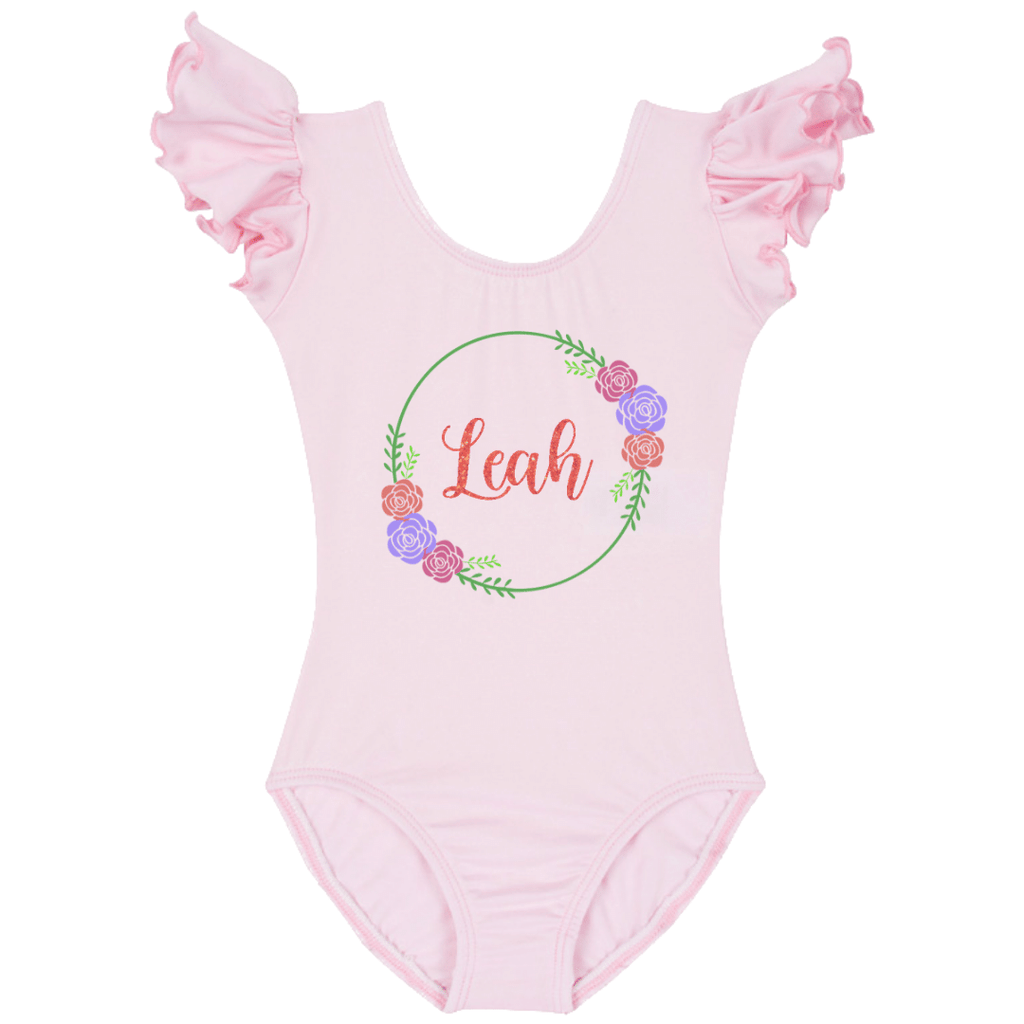 Personalized Name Wreath Girls Bodysuit