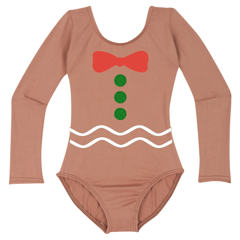 Gingerbread Girl Long Sleeve Baby, Toddler & Girls Christmas Costume Top