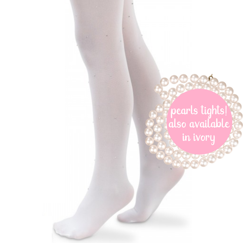 Girls Flower Girl Pageant Tights with Pearls