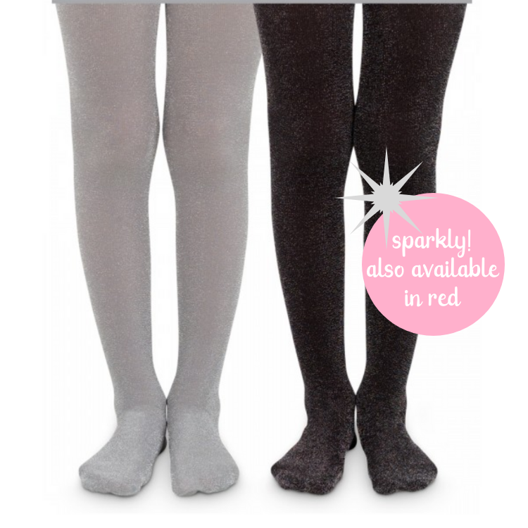 Girls Black and Gray Silver Sparkle Sparkly Tights