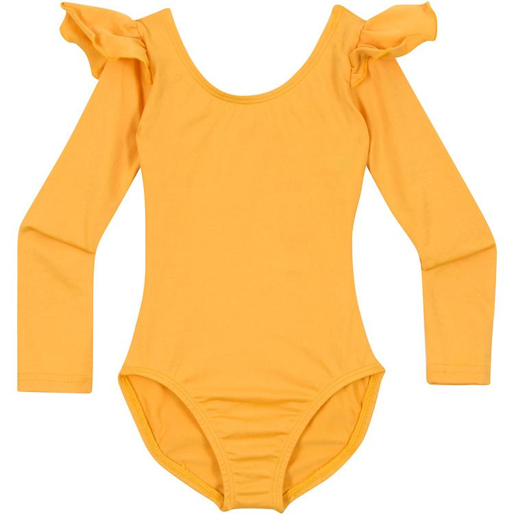 Gold Yellow Dance Leotard with Ruffle Long Sleeves