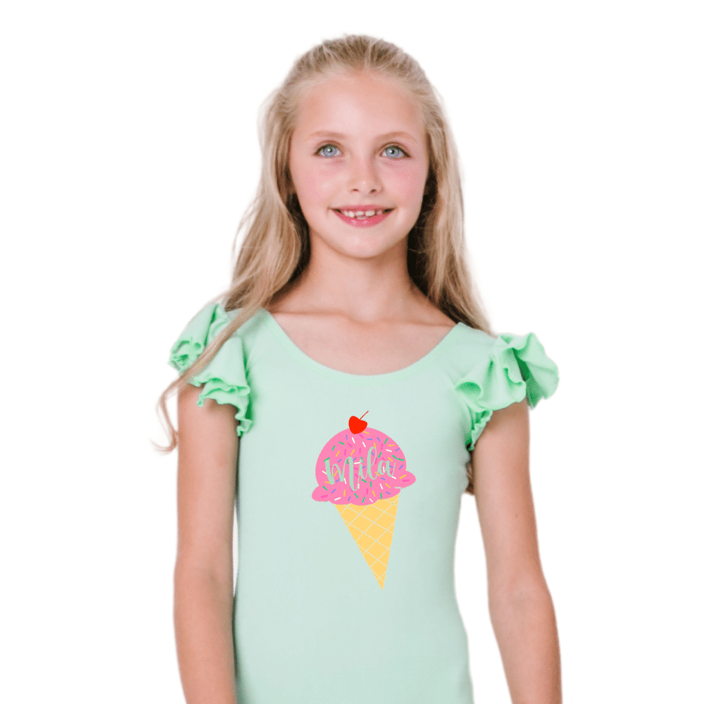 Personalized Ice Cream Cone Leotard for Toddlers and Girls