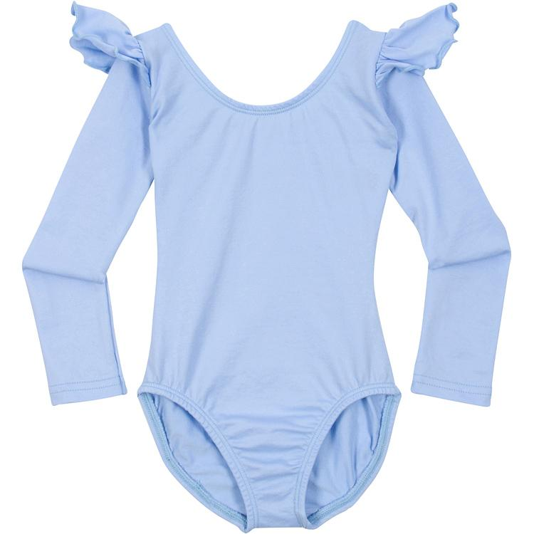 Light Blue Ruffle Long Sleeve Leotard