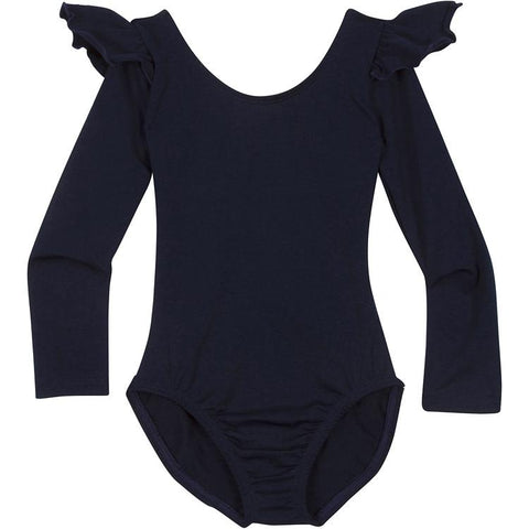 Navy Blue Long Sleeve Leotard with Ruffles for Infants and Girls