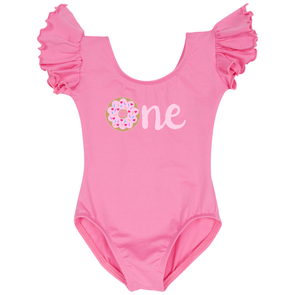 First Birthday One Donut Girls Leotard Top - Pink