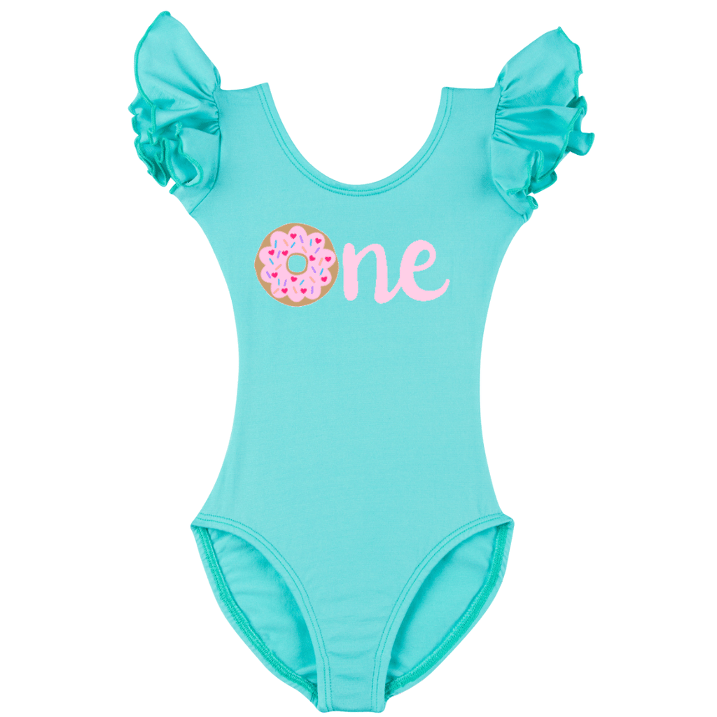 First Birthday One Donut Girls Leotard Top - Turquoise