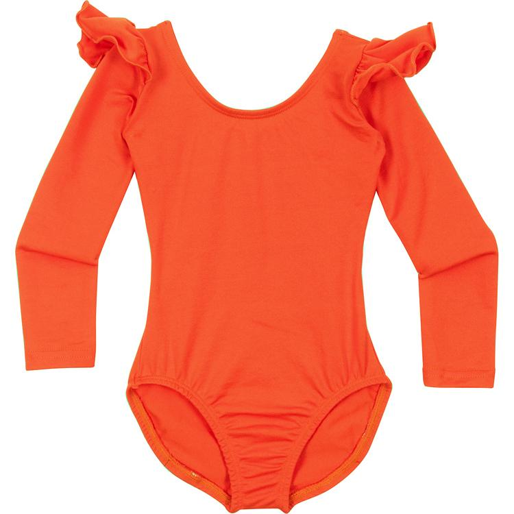 Orange Long Sleeve Ruffle Leotard for Toddler and Girls