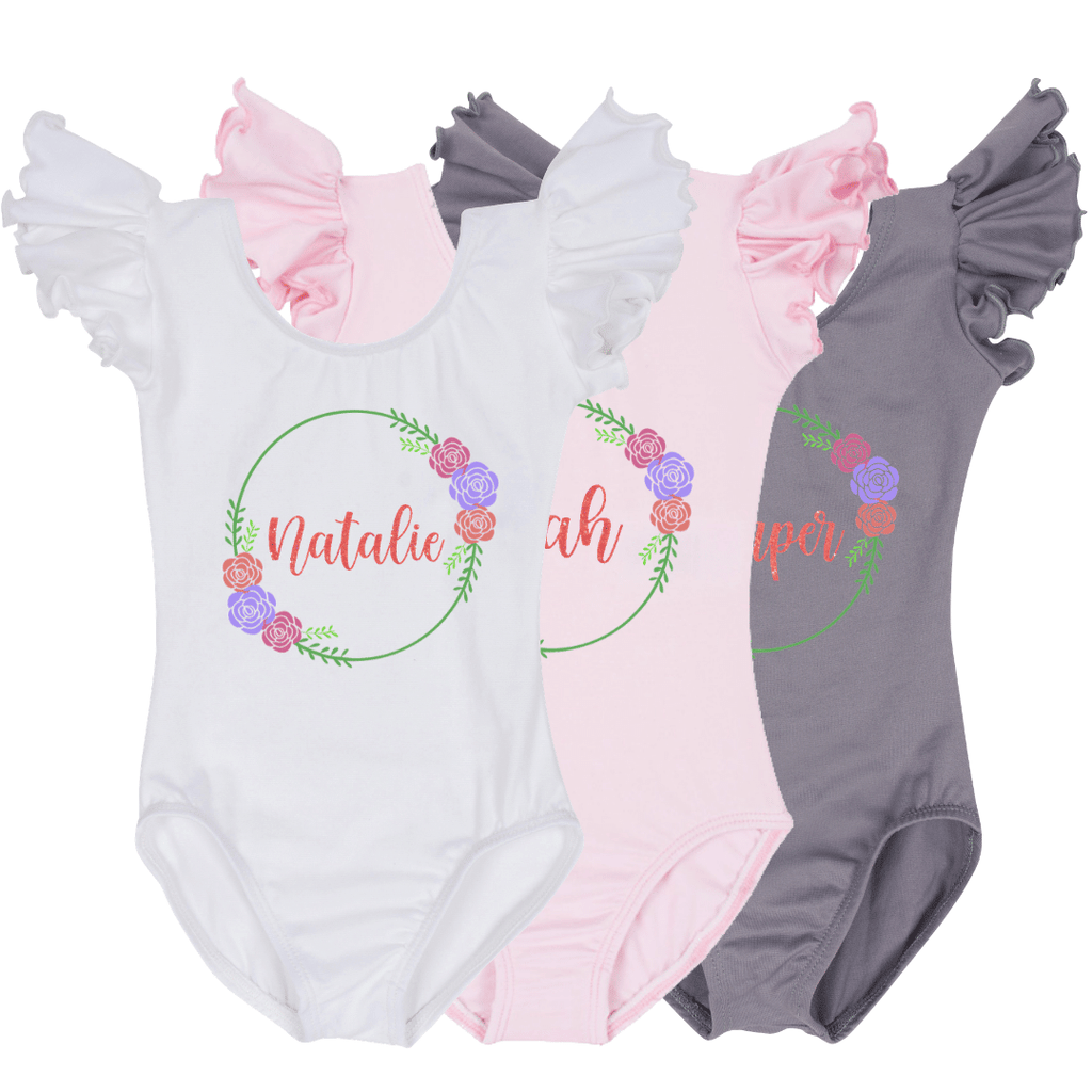 Personalized Floral Wreath Baby Bodysuit - Pink
