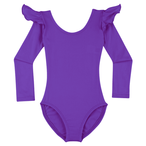 ff2a73cab4 PURPLE Long Sleeve Ruffle Leotard for Toddler   Girls - Gymnastics and  Ballet Dance