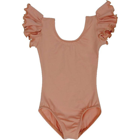 Suntan Tan Dark Nude Girls Ruffle Sleeve Leotard