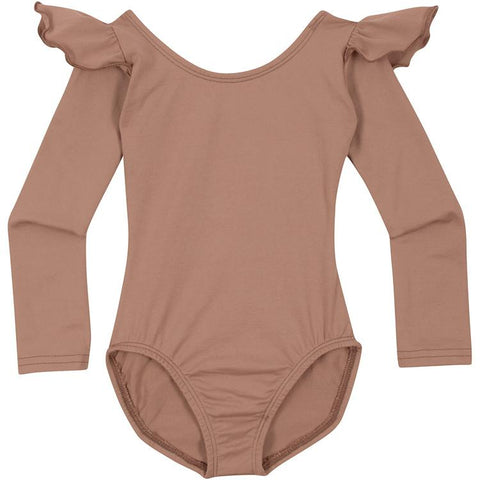 Suntan Long Sleeve Leotard with Ruffles for Infants and Girls