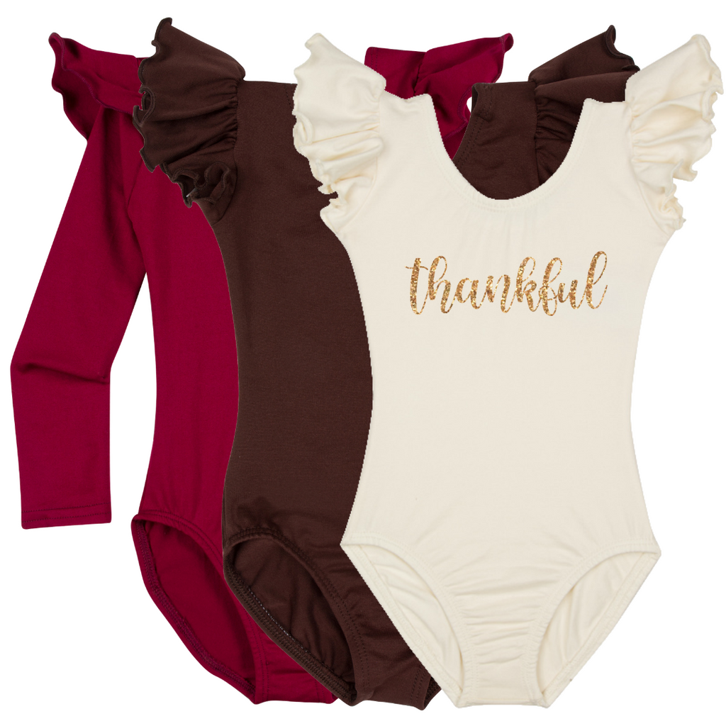 Thanksgiving Girls and Baby Leotard Top Shirt Thankful