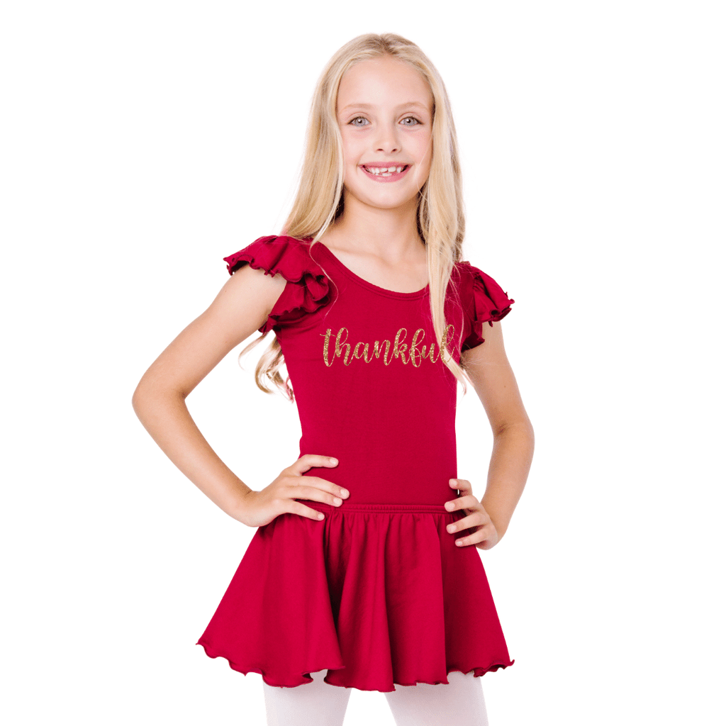 Thankful Happy Thanksgiving Leotard Holiday Outfit for Girls