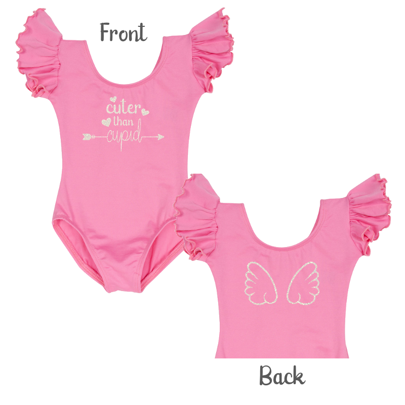 Valentine's Day Girls Cute Leotard Top with Cupid Wings - Pink