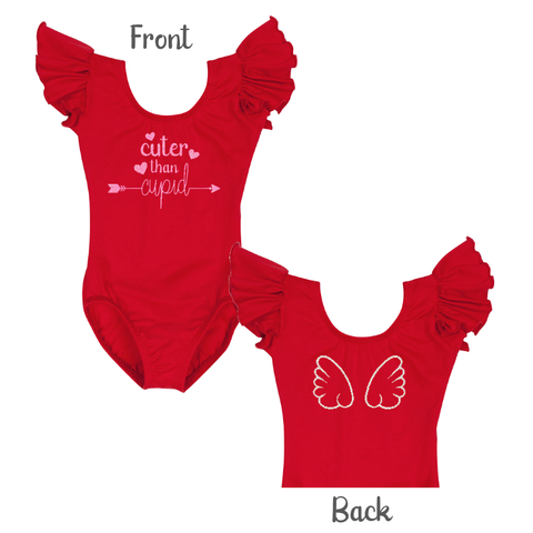 Valentine's Day Girls Cute Leotard Top with Cupid Wings - Red