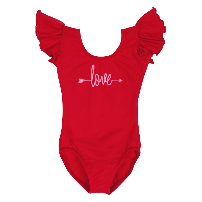 Valentine's Day Girls Leotard Top with Love Arrow- Red