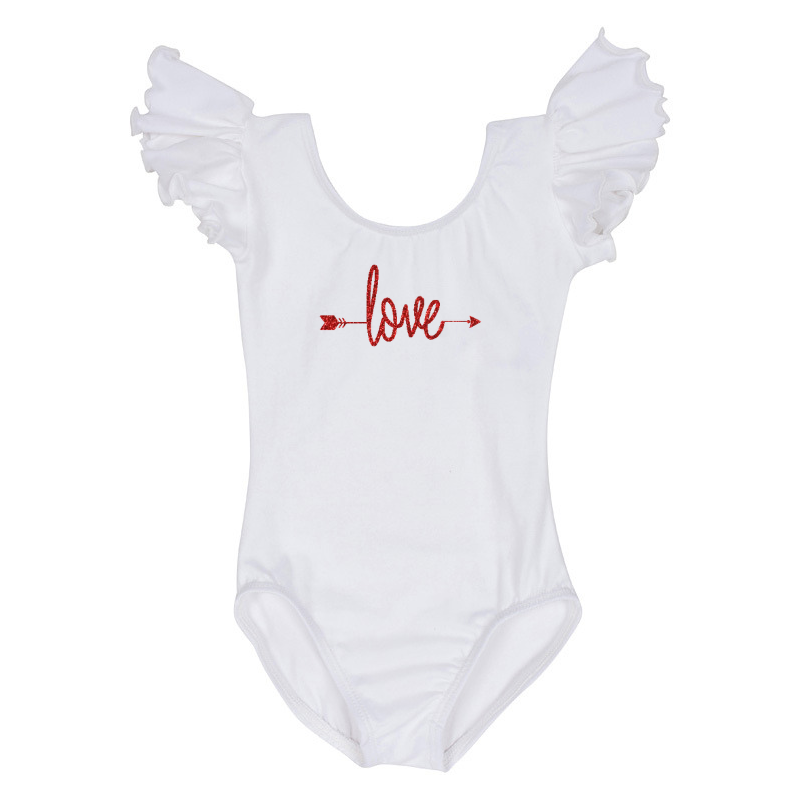 Valentine's Day Girls Leotard Top with Love Arrow - White