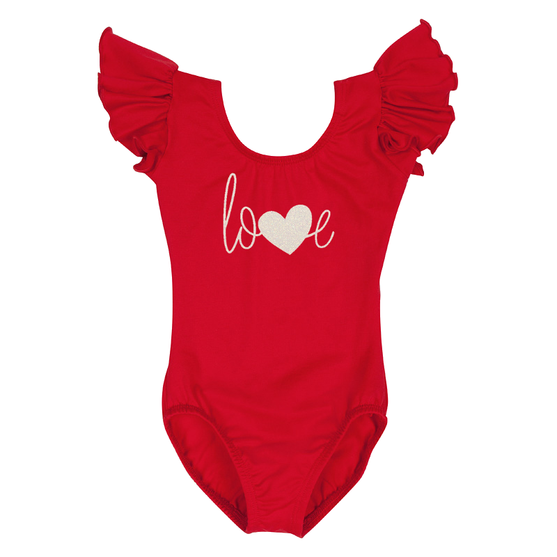 Valentine's Day Girls Leotard Top with Love Heart - Red