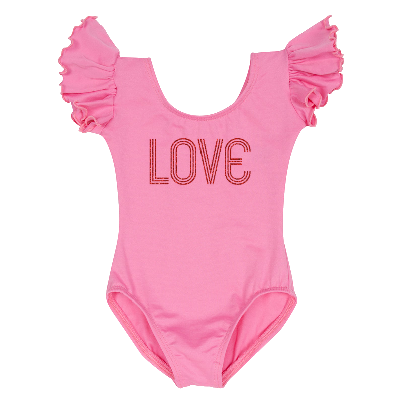 Valentine's Day Girls Retro Love Leotard Top - Pink