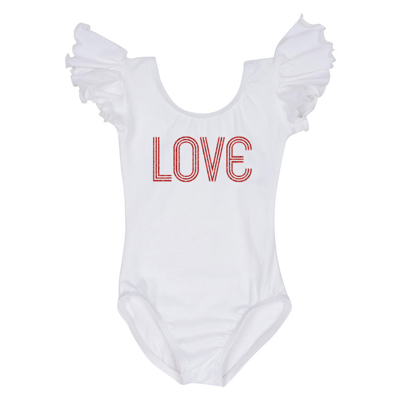 Valentine's Day Girls Retro Love Leotard Top - White