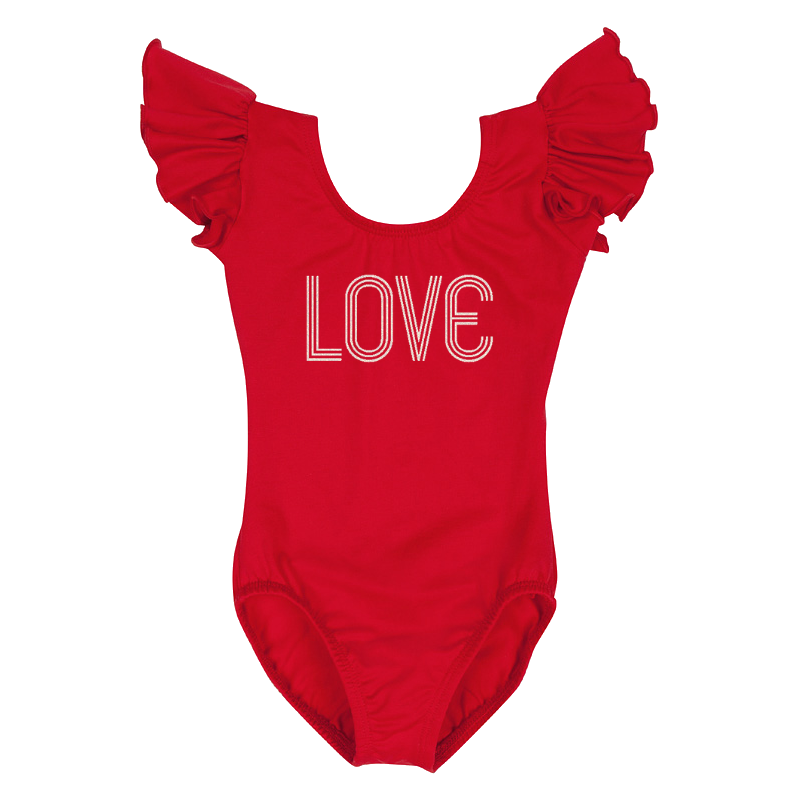 Valentine's Day Girls Retro Love Leotard Top - Red