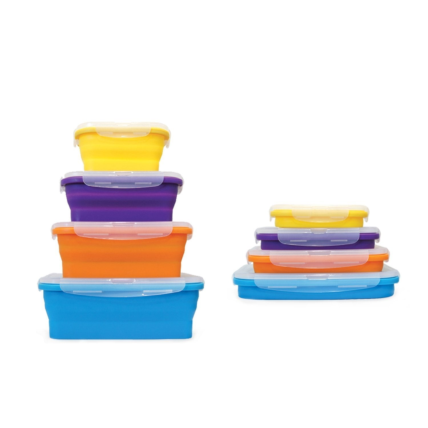 4 Piece Set of Environmentally Friendly Reusable Collapsible Microwave Safe Silicone Food Storage Lunch Box Kitchen Containers