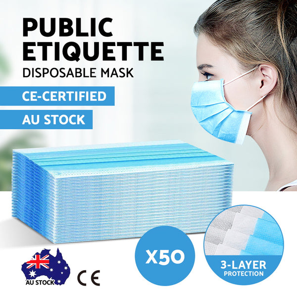 Disposable Face Mask Anti Flu Dust Masks Anti PM2.5 3-Layer Protective 50PCS AU Stock