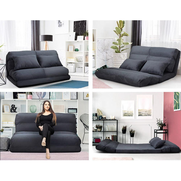 Artiss Lounge Sofa Bed Floor Recliner Chaise Folding Suede