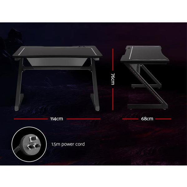 Artiss Gaming Desk Office Computer Desks LED Study Table Racer Chair Laptop Home