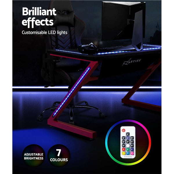 Artiss Gaming Desk Office Computer Desks LED Study Table Racer Chair Desktop RGB