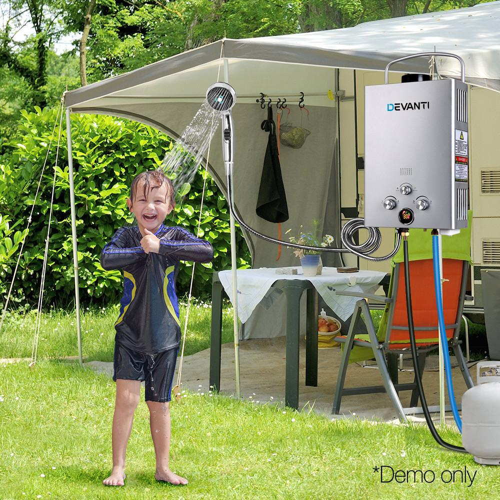 DEVANTi Outdoor Portable Gas Hot Water Heater Shower Camping LPG Caravan Pump Silver