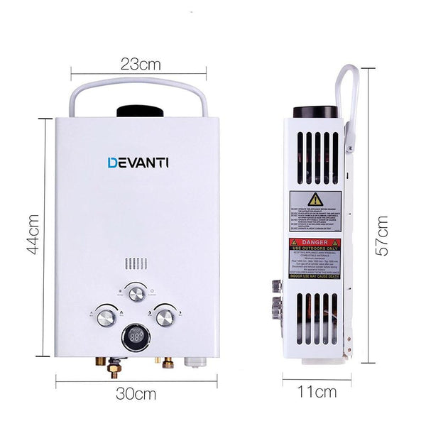 DEVANTi Outdoor Portable Gas Hot Water Heater Shower Camping LPG Caravan Pump White