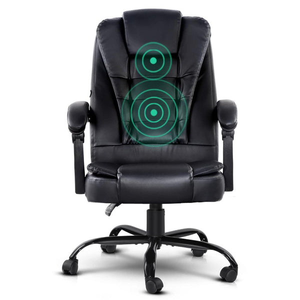 Artiss Electric Massage Office Chairs PU Leather Recliner Computer Gaming Seat Black