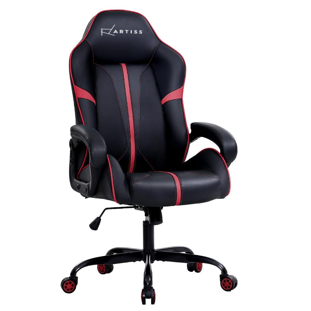 Artiss Gaming Office Chair Computer Chairs Leather Seat Racer Racing Meeting Chair Balck Red