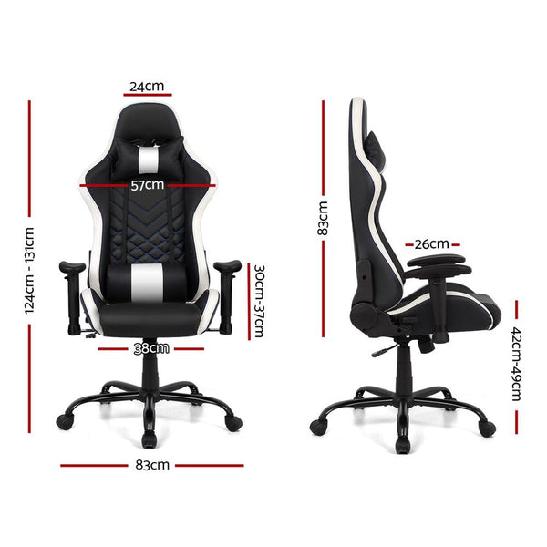 Artiss Gaming Office Chair Computer Desk Chairs Racing Recliner Seat White