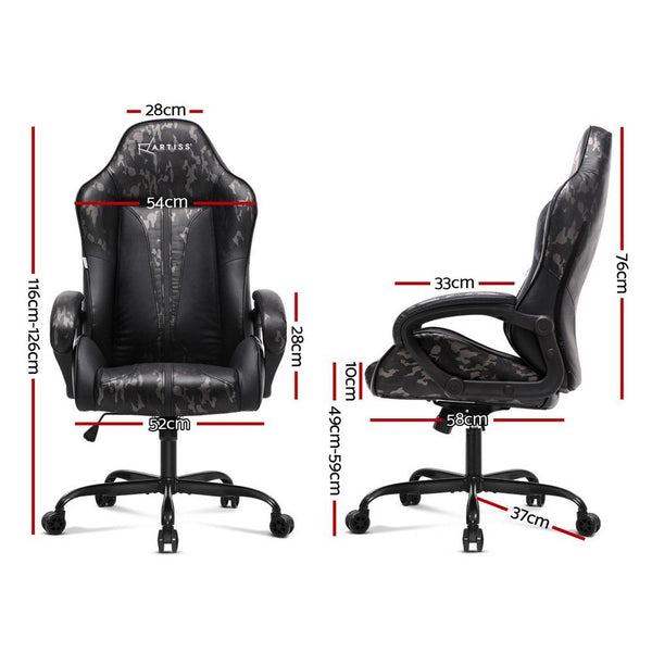 Artiss Gaming Office Chair Computer Chairs Leather Seat Racing Racer Meeting Chair Grey Camouflage