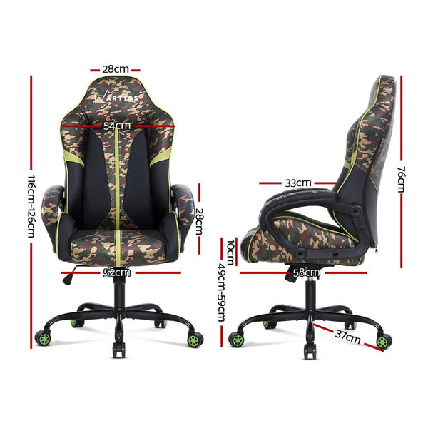 Artiss Gaming Office Chair Computer Chairs Leather Seat Racing Racer Meeting Chair Green Camouflage