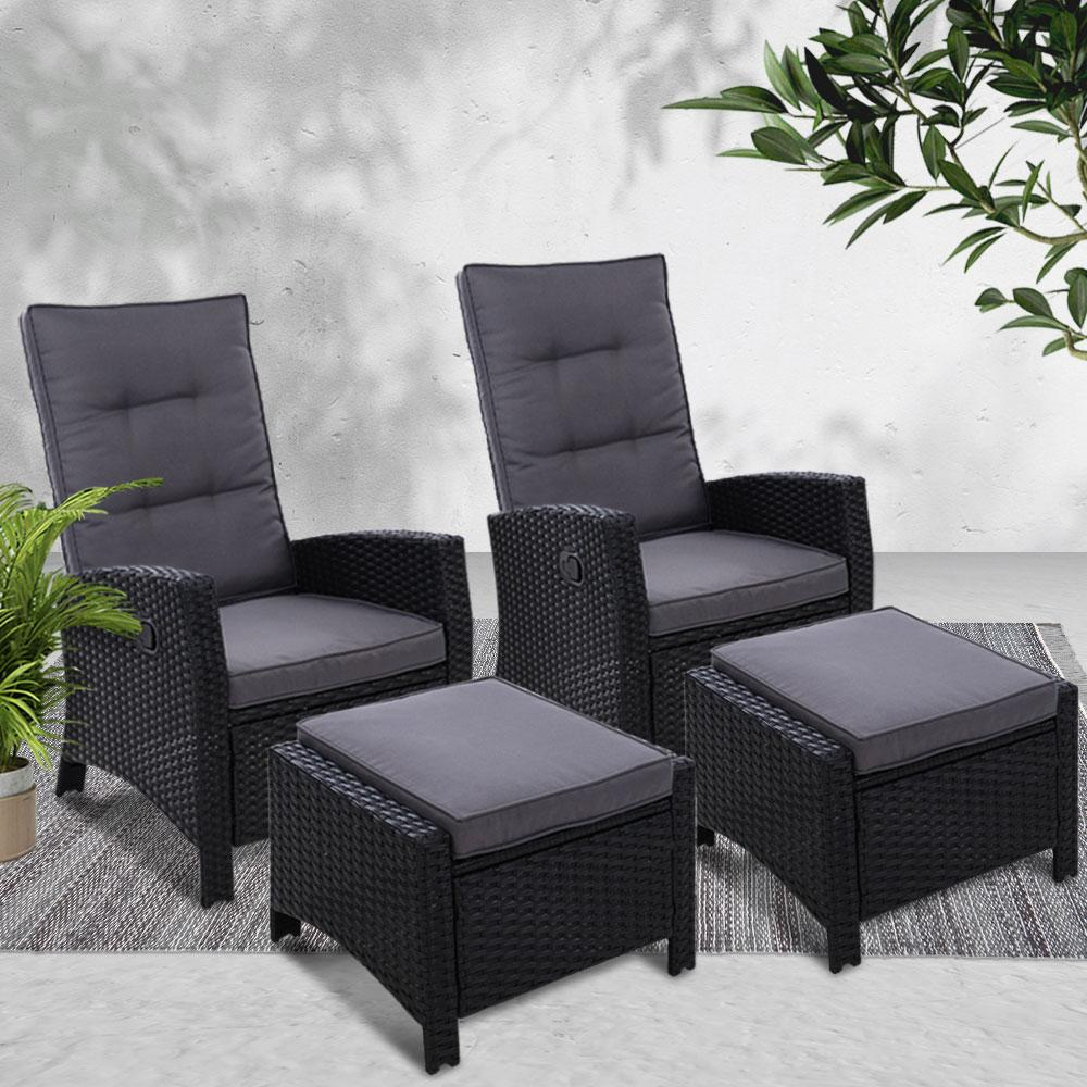 2PC Sun lounge Recliner Chair Wicker Outdoor Furniture Patio Garden Black