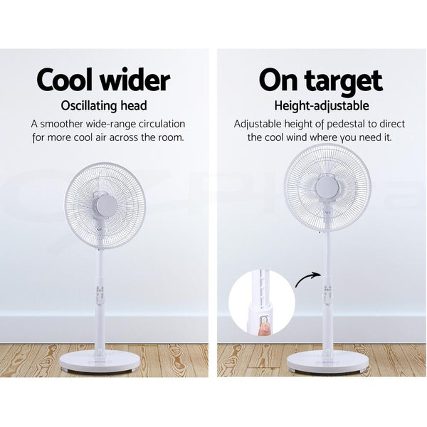 40cm Pedestal Fan DC Motor 9 Speeds Quiet Remote Control Sleep Mode Timer Home