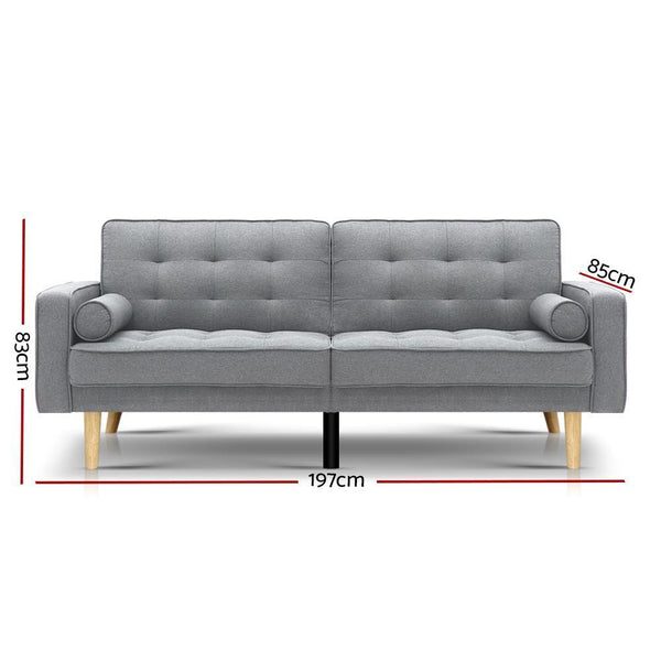 Artiss 3 Seater Sofa Bed Lounge Couch Futon Fabric Light Grey