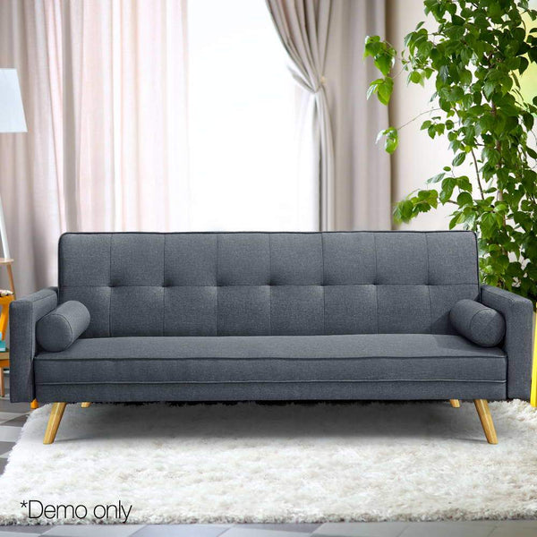 Artiss 3 Seater Fabric Sofa Bed - Charcoal