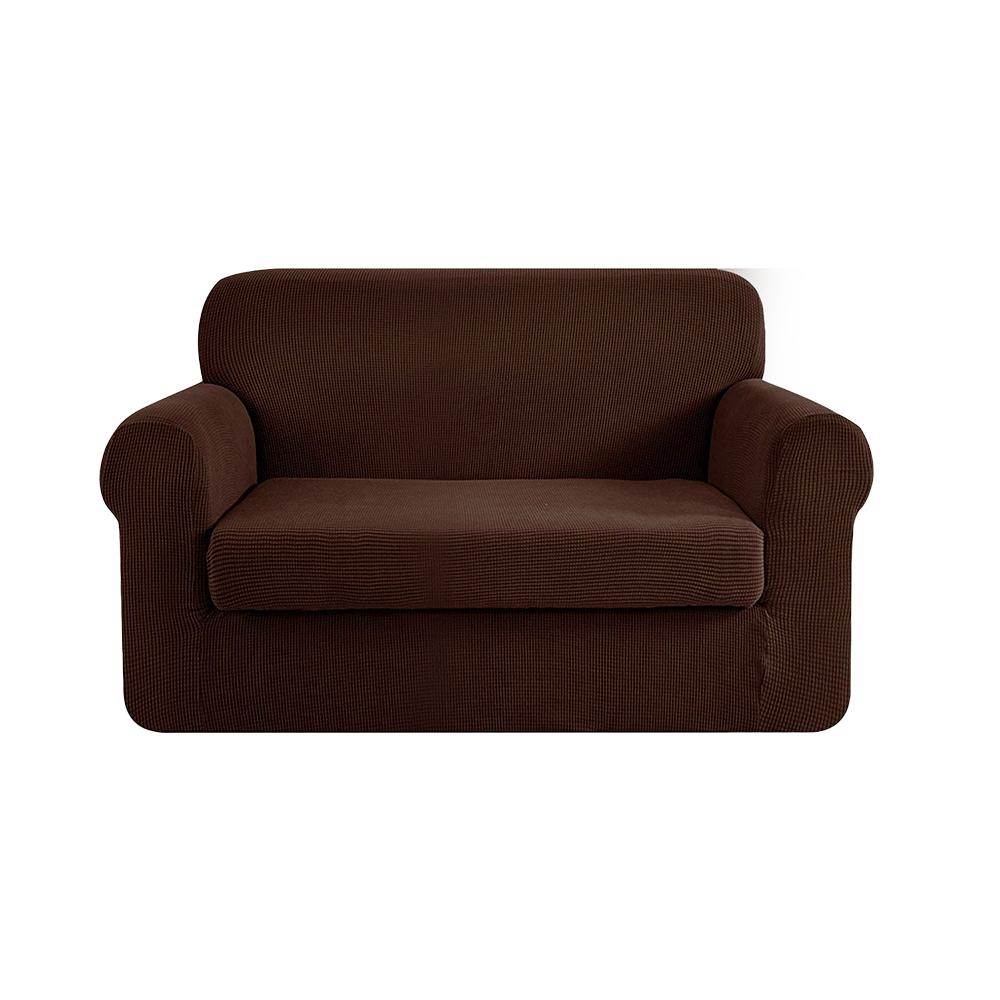 Artiss 2-piece Sofa Cover Elastic Stretch Couch Covers Protector 2 Steater Coffee